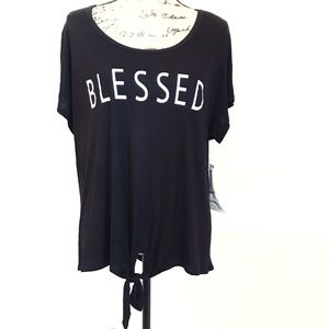 French Pastry Blessed Tie Front Tee Shirt Plus 3X